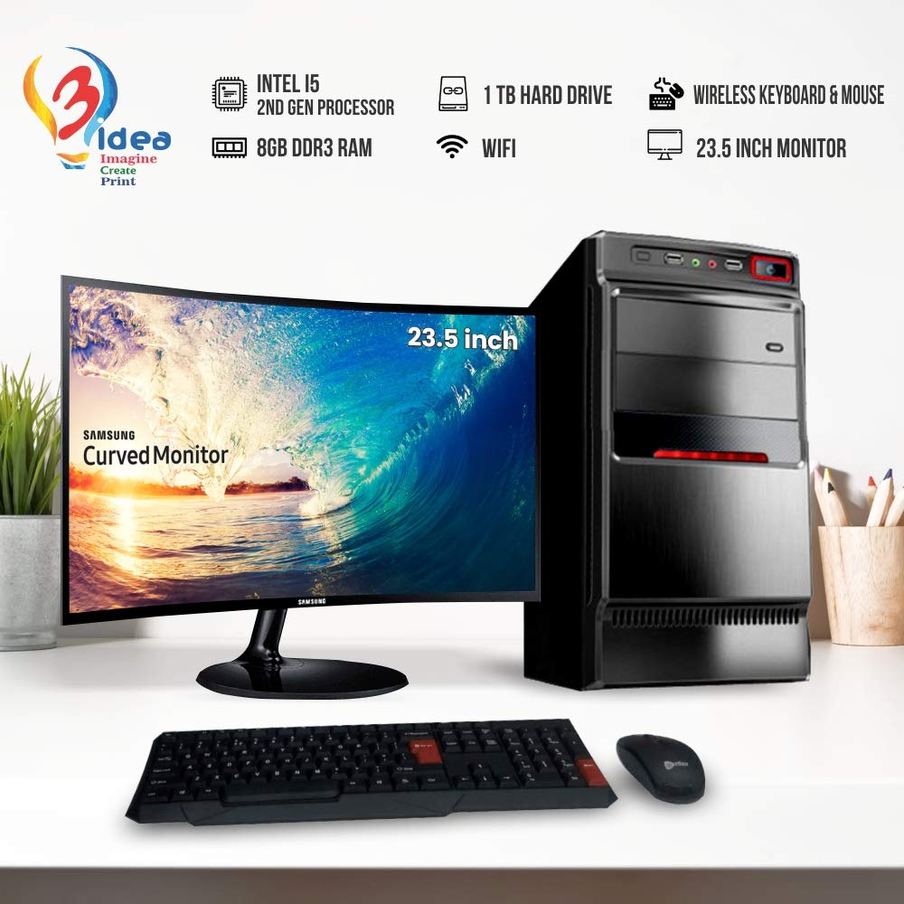 3Idea Imagine Create Desktop Computer I5, 8GB DDR3, 23 Inch Curved LED Monitor, Keyboard, Mouse